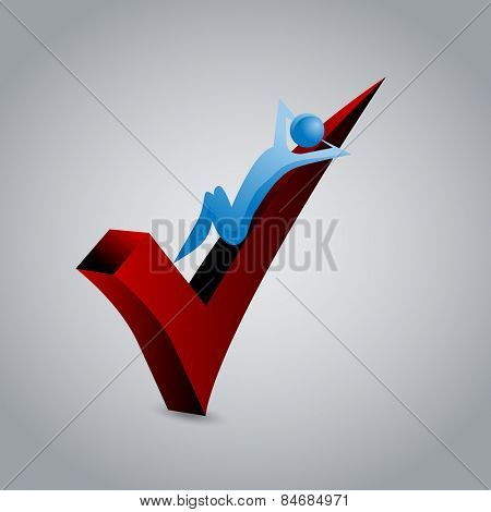 An image of a person relaxing on a red 3d checkmark.