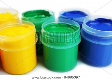 Colorful paint on white background, closeup view