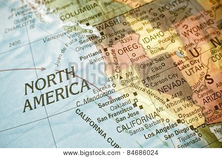Map North West USA .  Close-up macro image of  map North West America. Selective focus