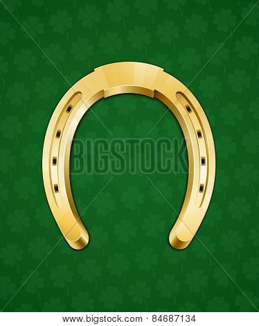 Golden horseshoe. Good luck symbol. Vector illustration