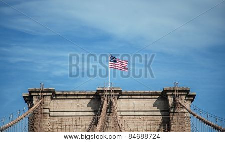 Top of Brooklyn Bridge in NEw York City