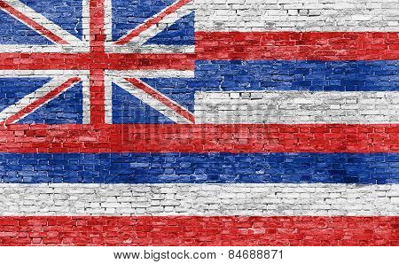 Flag Of Hawaii On Brick Wall