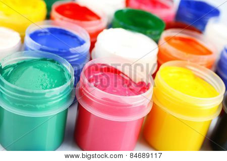 Colorful watercolor on white background, closeup view