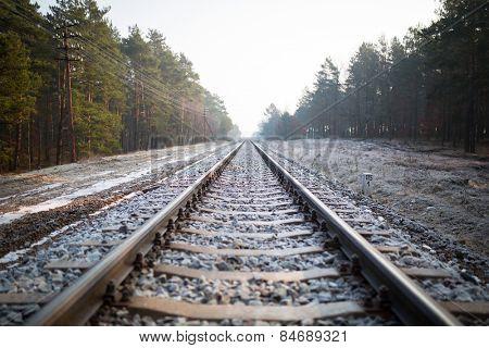 Train rails in winter time, Poland