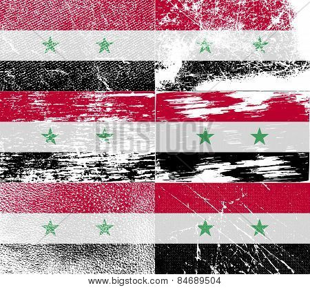 Flag Of Syria With Old Texture. Vector