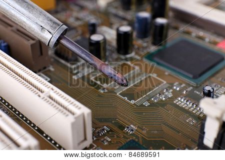Repairing of motherboard, macro view