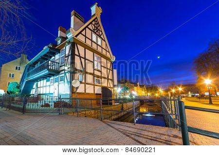 Historical Miller's House on the Mill Island in Gdansk, Poland