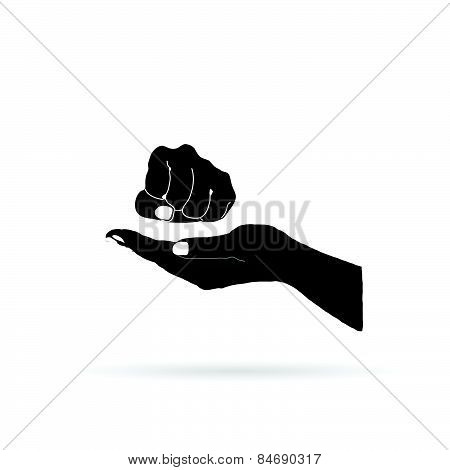 Fist In Hand Vector