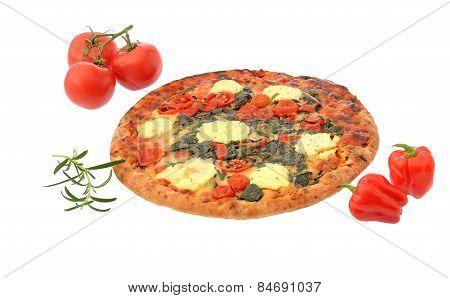 Stonebaked pizze isolated on white