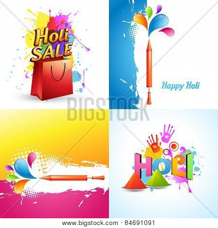 vector set of different holi background with holi sale offer, pichkari and colorful gulal