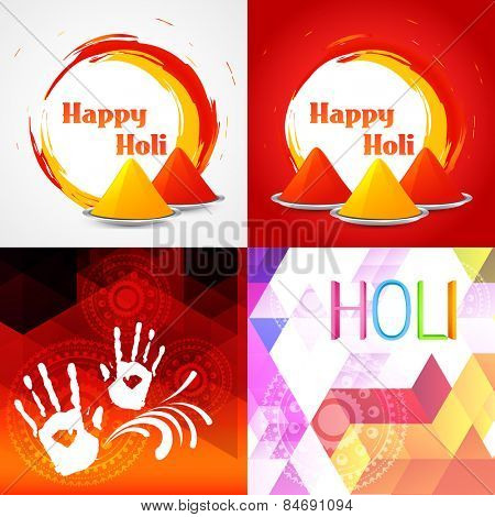 vector set of colorful happy holi background