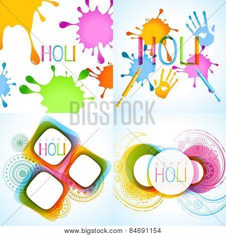 vector colorful set of holi background illustration