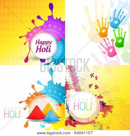 vector set of holi background with different colors