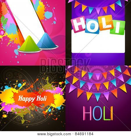 vector colorful collection of holi background illustration
