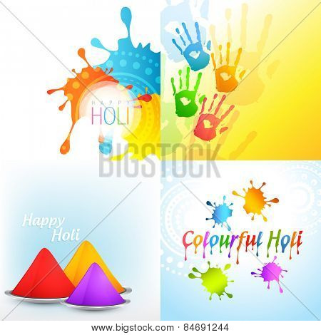 vector bunch of holi background with colorful gulal