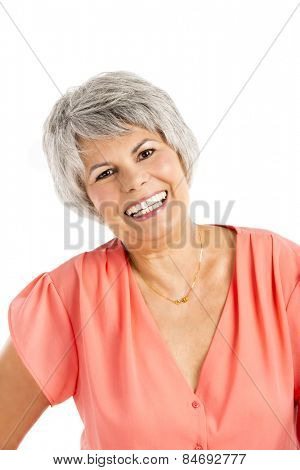 Portrait of a elderly woman smiling, isolated on a white background