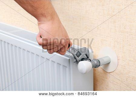 Repair heating radiator close-up