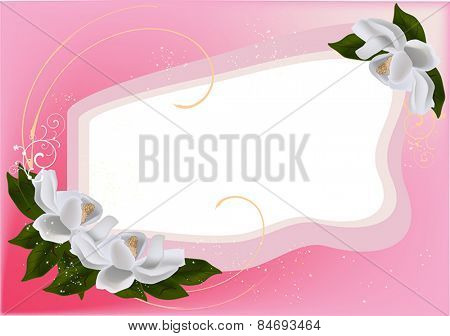 illustration with pink frame decorated by magnolia flowers