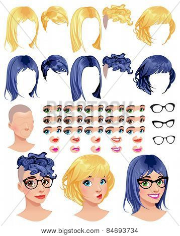 Fashion female avatars. 5 hairstyles in 2 colors, 5 eyes in 3 colors, 5 mouths in 2 colors, 3 glasses, 1 head, for multiple combinations. Some previews on the bottom. Vector file, isolated objects.