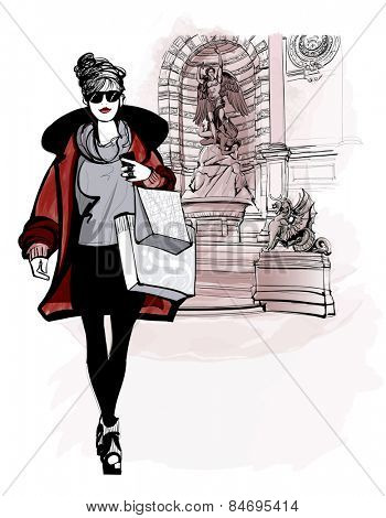 woman near Saint Michel in Paris - vector illustration