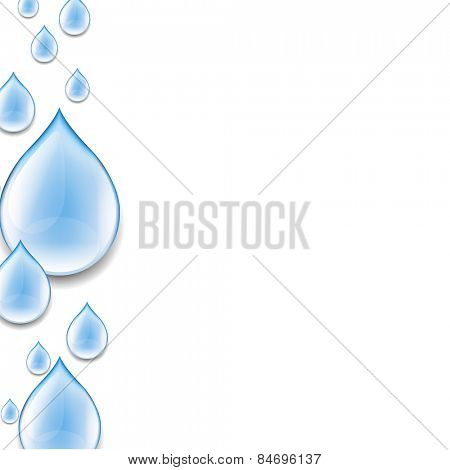 Water Drop Poster With Gradient Mesh, Vector Illustration