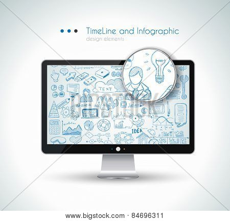 Modern Mockup Device with infographics sketch set: design elements isolated, vector shapes. It include lots of icons included graphs, stats, devices,laptops, clouds, concepts and so on.
