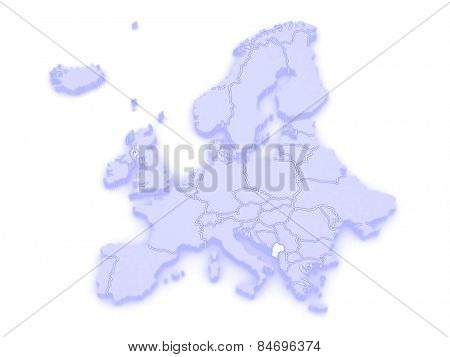 Map of Europe and Montenegro. 3d