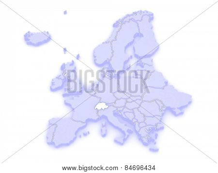 Map of Europe and Switzerland. 3d