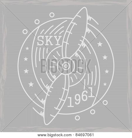 Airplane Emblem Monchrome