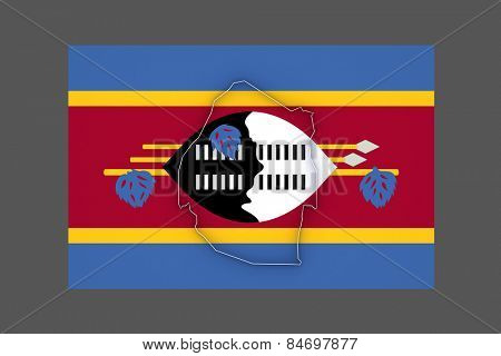 Map of Swaziland. 3d