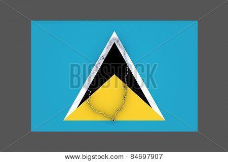 Map of Saint Lucia. 3d