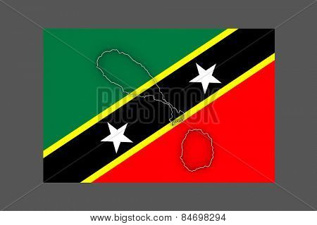 Map of Saint Kitts and Nevis. 3d