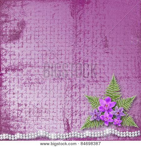 Greeting Card With Beautiful Branch Orchid And Pearls For A Wedding Or Birthday