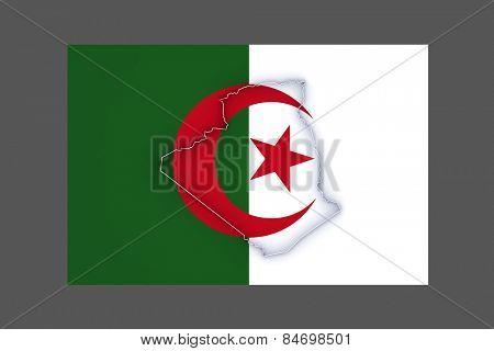 Map of Algeria. 3d