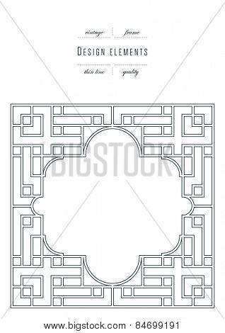 Vintage frame, thin line ( variable line width )