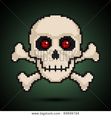 Pixel skull and crossbones. Vector illustration