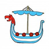 image of viking ship  - retro comic book style cartoon viking ship - JPG