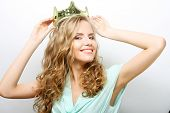 picture of queen crown  - young lovely expression woman in crown - JPG