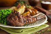 stock photo of barbecue grill  - Organic Grilled Lamb Chops with Garlic and Lime - JPG