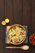 foto of zucchini  - Overhead shot of rice dish with mincemeat and vegetables  - JPG