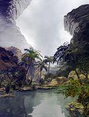 image of vegetation  - 3D illustration of tropical landscape lake - JPG