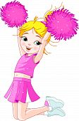 picture of cheerleader  - Illustration of cute cheerleading girl jumping in air - JPG