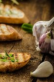 foto of french toast  - Garlic toast toasted panini sprinkled in microgreens everything pure organic eat clean - JPG