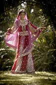 stock photo of indian beautiful people  - Young beautiful Hindu Indian bride in traditional gown outdoors in garden