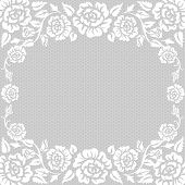 picture of lace  - White lace vintage background with roses frame - JPG