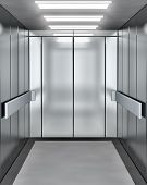 stock photo of elevators  - Modern elevator with opened door  - JPG