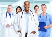 picture of medical  - Medical physician doctor man and group of business people - JPG