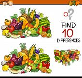pic of perception  - Cartoon Illustration of Finding Differences Educational Game for Preschool Children - JPG