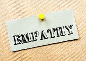 picture of empathy  - Recycled paper note pinned on cork board - JPG