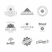 picture of east-indian  - Asian isolated fashion shops logo templates set - JPG